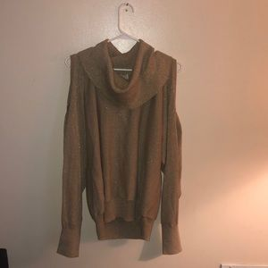 gold cowl neck off shoulder sweater